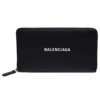 BALENCIAGA 經典EVERYDAY系列品牌字母LOGO壓紋小牛皮拉鍊手拿長夾(黑)