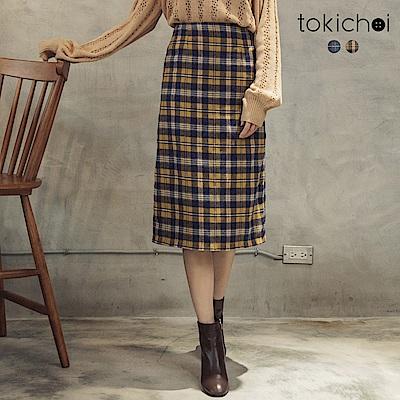 東京著衣 氣質時尚磨毛格紋後開岔中長裙-S.M(共二色)