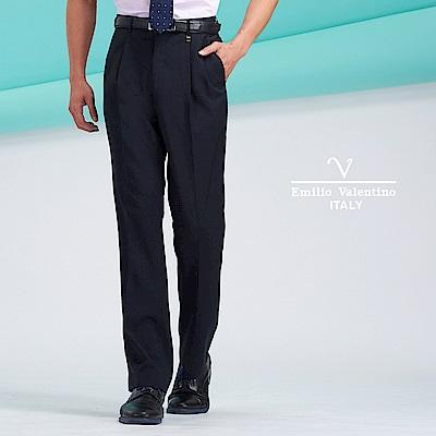 Emilio Valentino商務彈性雙褶長褲_黑(77-8B1021)