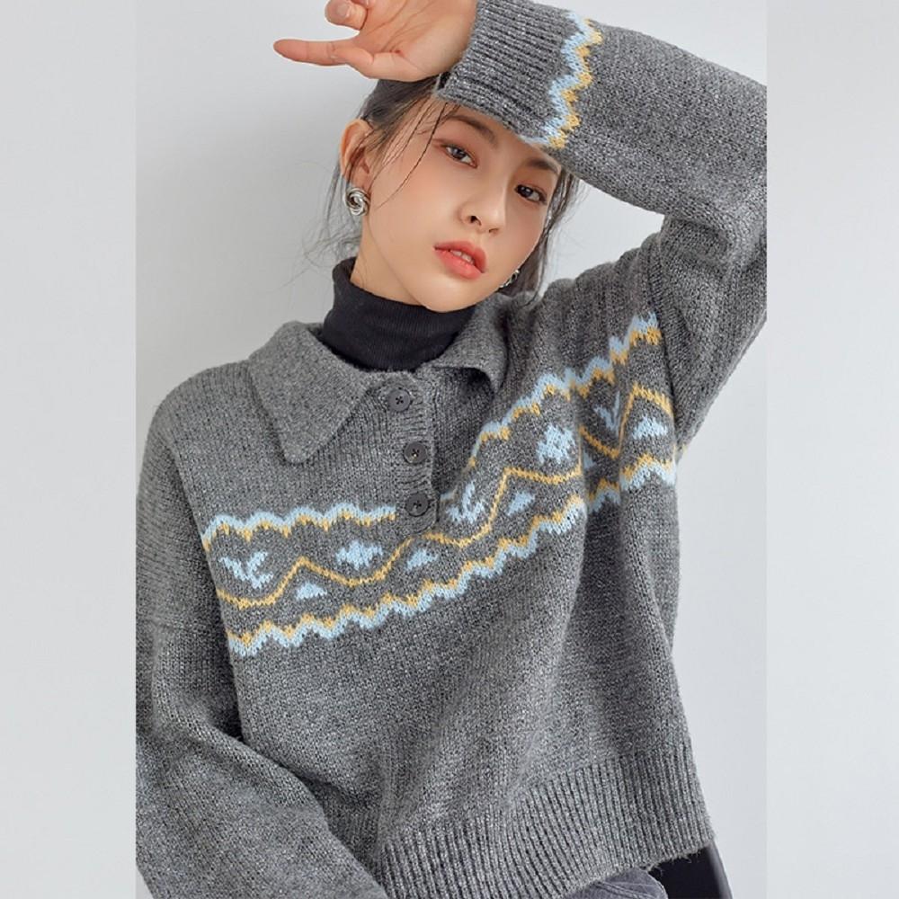 毛衣 慵懶排扣提花長袖毛衣RN3083-創翊韓都