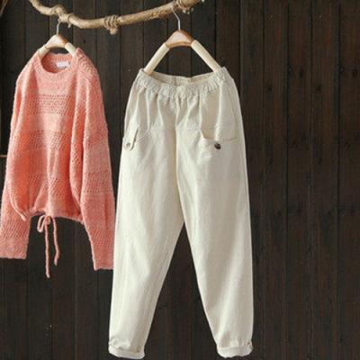 立體廓形斜紋純棉鬆緊腰九分寬鬆顯瘦哈倫褲-設計所在
