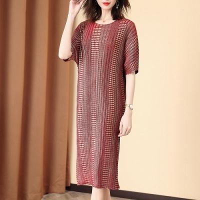 時尚圓領條格紋印花寬鬆壓摺洋裝-F(共二色)-糖潮