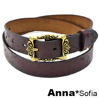 AnnaSofia 古典金釦押花線紋 二層牛皮真皮腰帶(墨咖系)