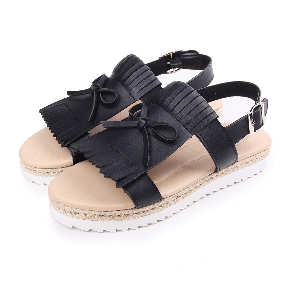 TTSNAP涼鞋-休閒流蘇雙層厚底涼鞋 黑