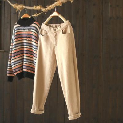 素色棉質加絨工裝鬆緊腰寬鬆長褲-設計所在