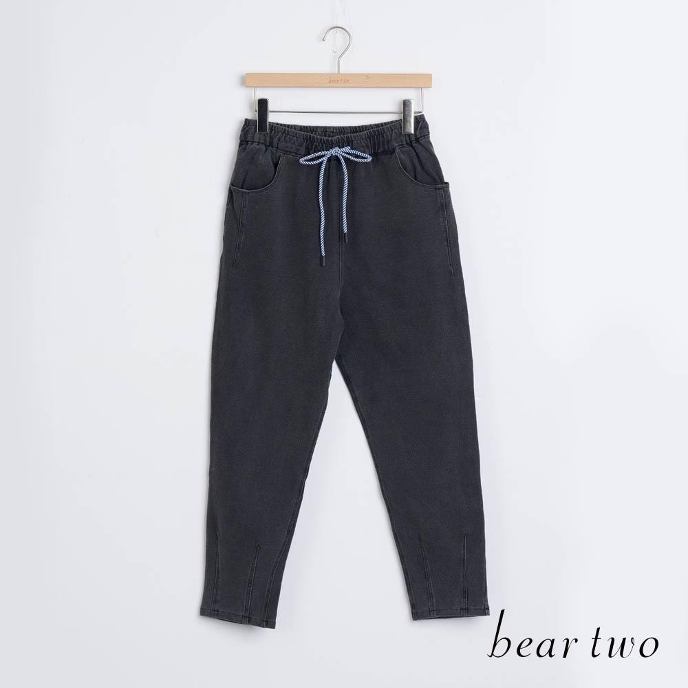 bear two- 素色直筒綁帶褲 - 黑