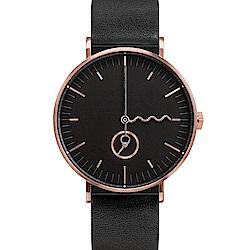 AÃRK 時尚玫瑰金質感真皮革腕錶 -黑38mm