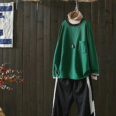 拼色棉質條紋內搭衫長袖t恤上衣/設計所在Y5007