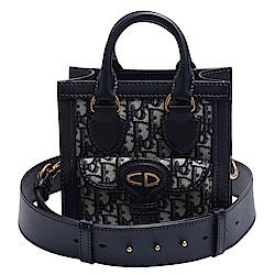 Dior Saddle系列經典CD LOGO緹花布小牛皮飾邊手提/斜背包(藍)