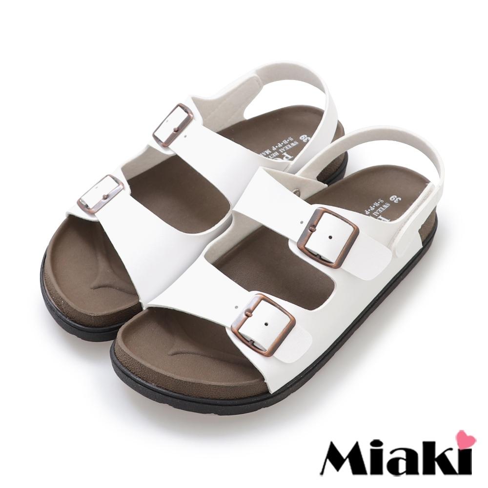 Miaki-涼鞋MIT仲夏穿搭皮質平底涼拖-白