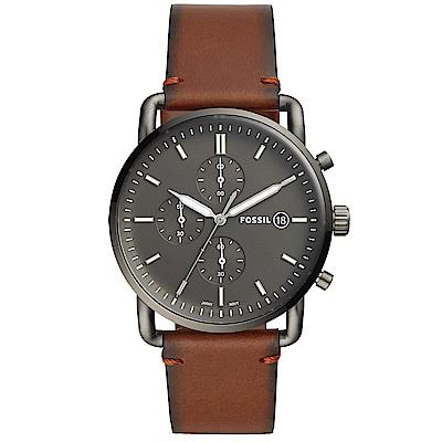 FOSSIL Commuter質感三眼計時真皮手錶(FS5523)-灰X咖啡/42mm
