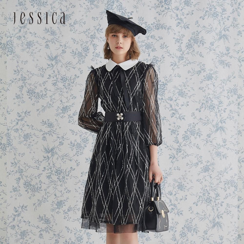 JESSICA - 黑色格紋精美珠片刺繡寬裙擺長袖洋裝