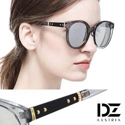 DZ 都會工業元素 抗UV 防曬太陽眼鏡造型墨鏡(透灰框水銀膜)