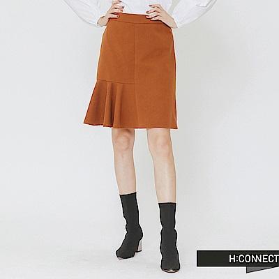 H:CONNECT 韓國品牌 女裝-百摺拼接毛呢短裙-棕色