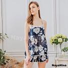 Naya Nina 浪漫花朵雙層雪紡衣短褲二件式套裝居家睡衣-藍F