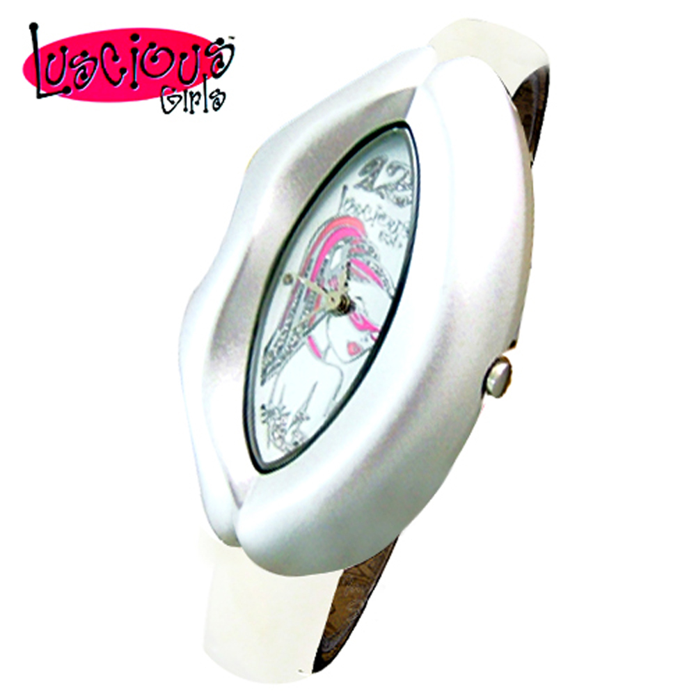 Luscious Girls浪漫少女 性感紅唇時尚造型女錶(LG015B星光白)