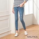 Nautica女裝低腰緊身彈性微刷破牛仔褲-淺藍