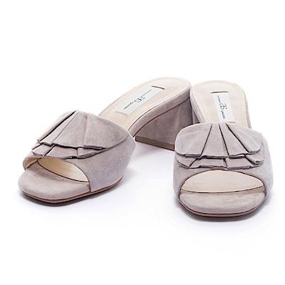 拖鞋 AS 柔美浪漫荷葉邊純色羊麂皮高跟拖鞋-米