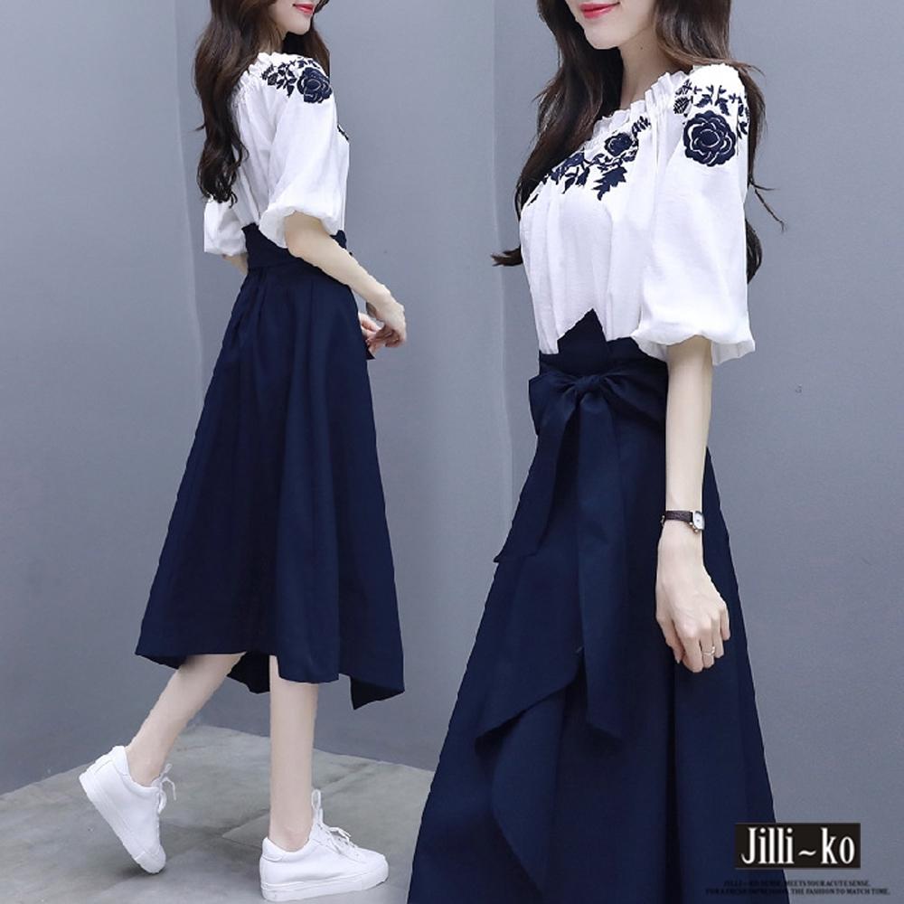 JILLI-KO 兩件套刺繡文藝打結A字裙套裝- 藍色