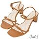 Ann'S微成熟-立體圓條方頭扁跟拉帶涼鞋-棕 product thumbnail 1