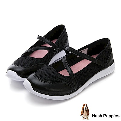 Hush Puppies Stork魔鬼氈休閒鞋-黑色