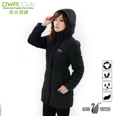 【遊遍天下】女款長版JIS90%拒水羽絨防風防潑水羽絨外套G0331黑色