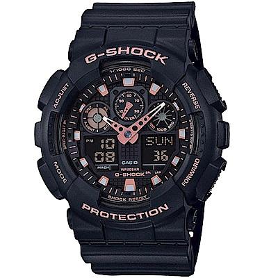 G-SHOCK街頭時尚配件玫瑰金點綴主題設計休閒錶GA-100GBX-1A4 51mm