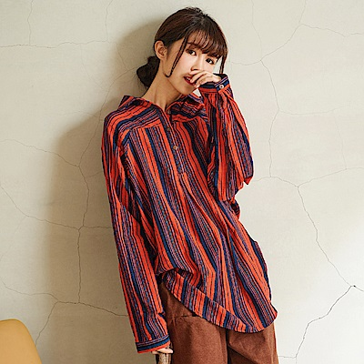 慢 生活 配色線條襯衫領開扣衫-F 紅橘/綠
