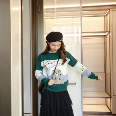 2F韓衣-輕甜圖樣造型針織上衣-綠F