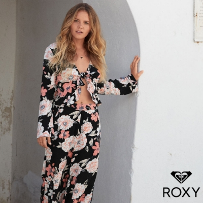 【ROXY】NEW MIDNIGHT AVENUE 絲質印花長褲 黑