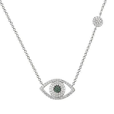 apm MONACO ETE系列晶鑽鑲飾幸運眼設計純銀項鍊(銀)