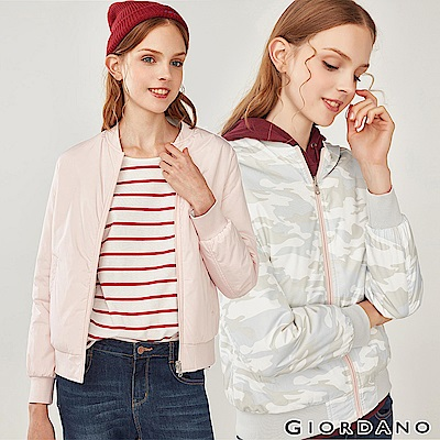GIORDANO  女裝雙面穿鋪棉飛行外套-95 百花粉紅/迷彩灰色