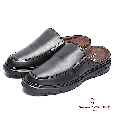 CUMAR 舒適真皮 嚴選舒適大底後空式皮鞋-黑