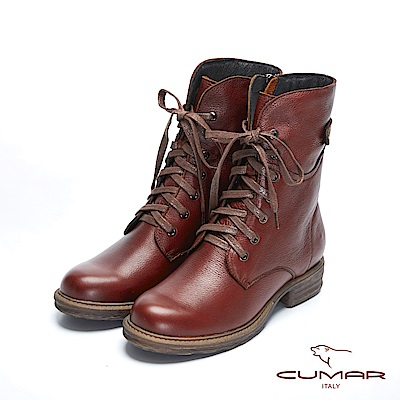 【CUMAR】率性柔美-中性風綁帶軍裝感短靴