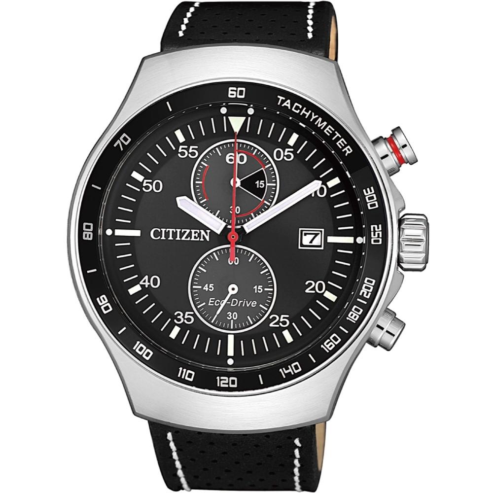 CITIZEN 星辰 光動能計時小牛皮時尚腕錶 (CA7010-19E)43mm