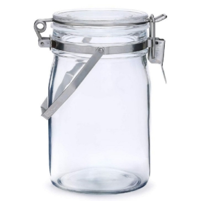 日本星硝Cellarmate 不鏽鋼把手式玻璃密封瓶1L