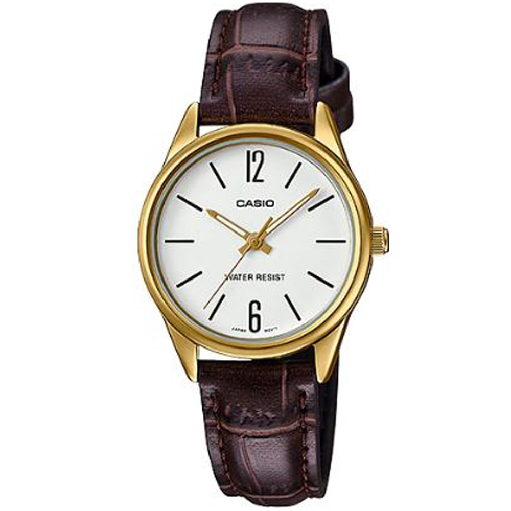 CASIO 文青時尚簡約設計皮革腕錶(LTP-V005GL-7BUDF)白面X咖啡/4mm