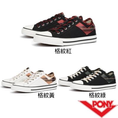 【PONY】Shooter拼接格紋帆布鞋 女鞋 三色