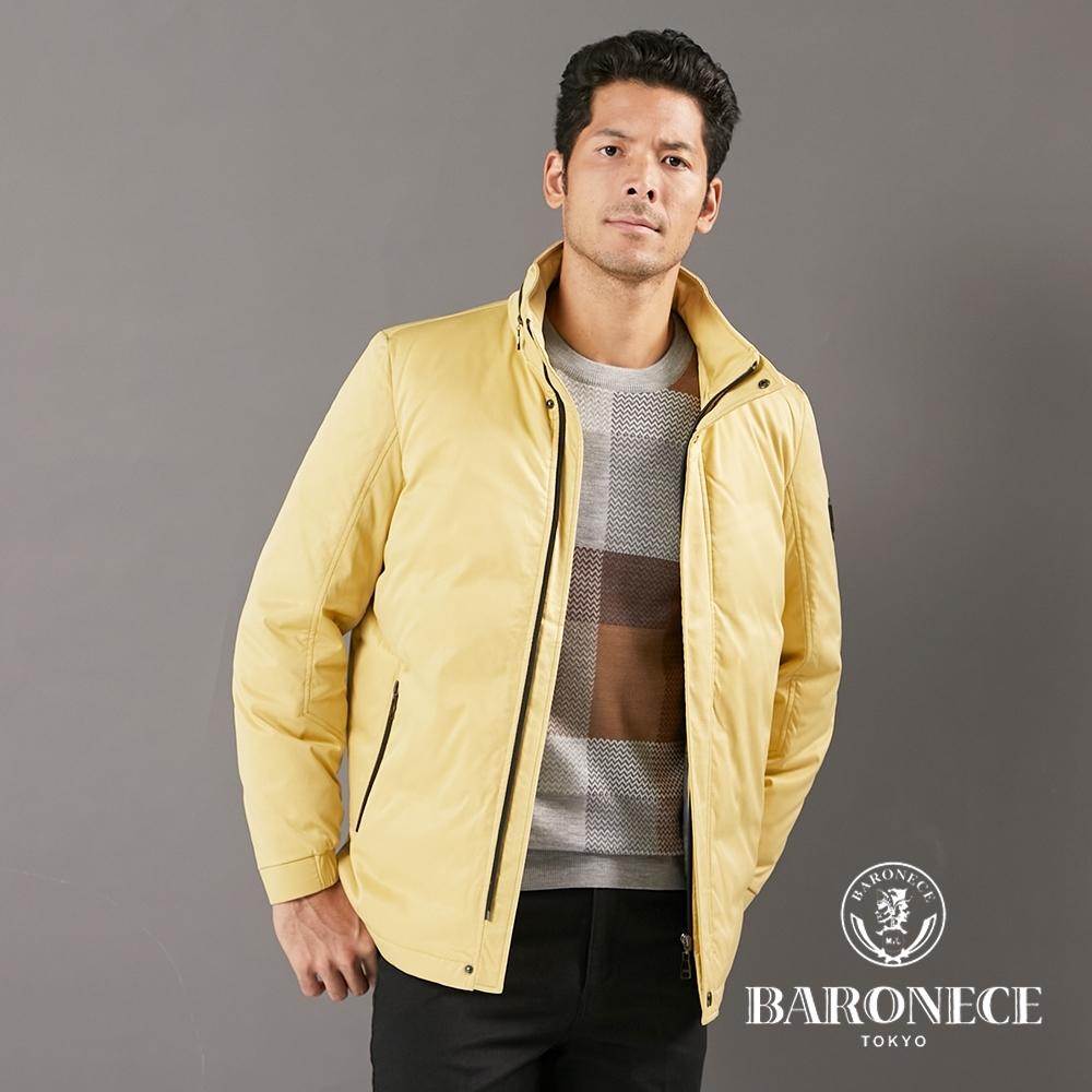 BARONECE 百諾禮士休閒商務 男裝 長版掛帽羽絨夾克外套--黃色(1206771-55)