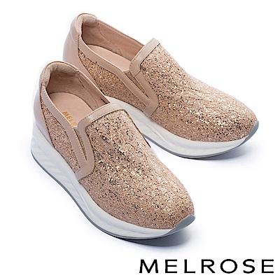 休閒鞋 MELROSE 華麗色調金蔥蕾絲布厚底休閒鞋-粉