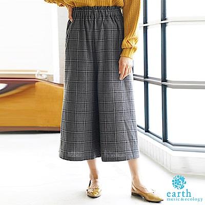 earth music 溫暖感格紋寬褲