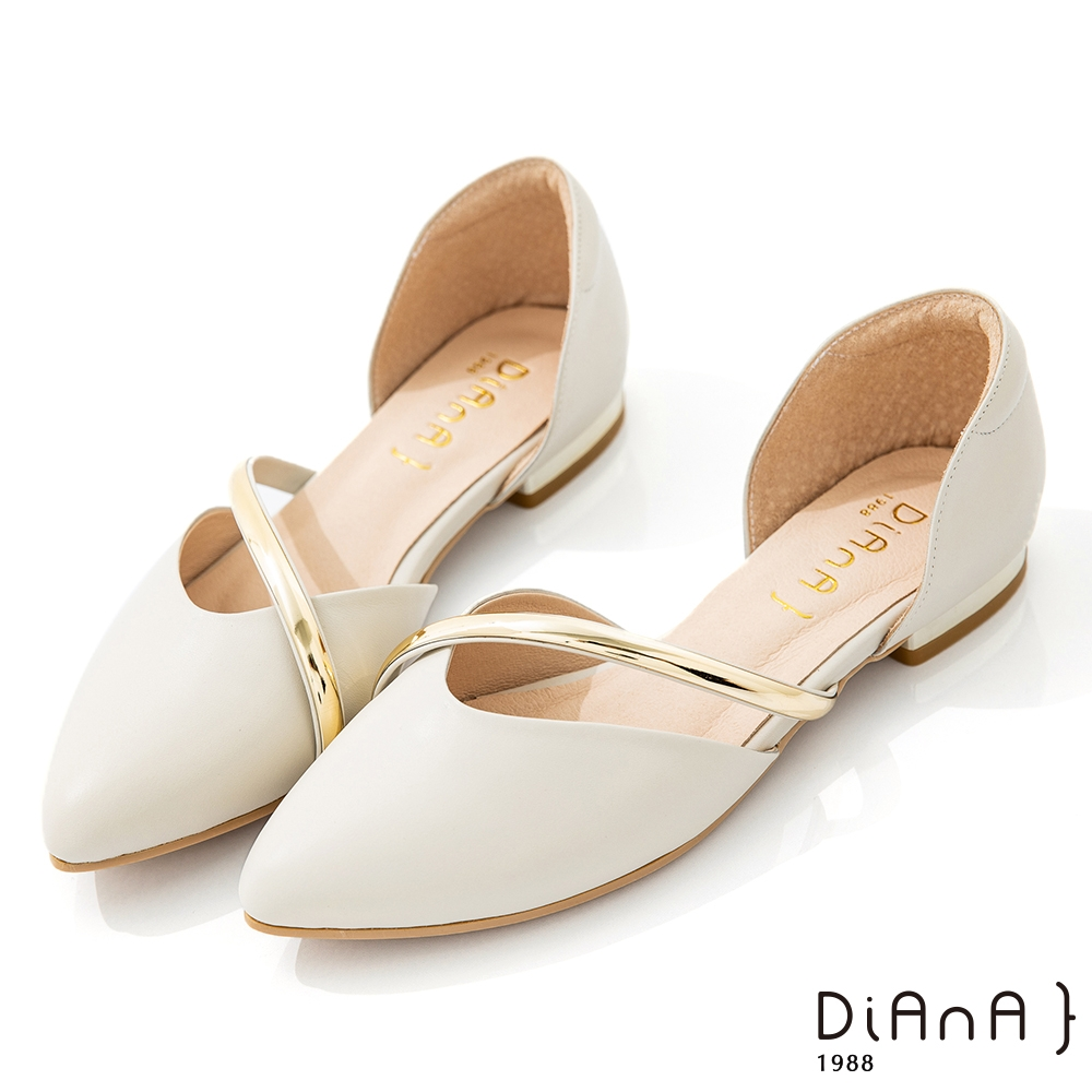 DIANA 2CM軟牛皮優雅金屬曲線側空尖頭低跟鞋-漫步雲端焦糖美人-米白