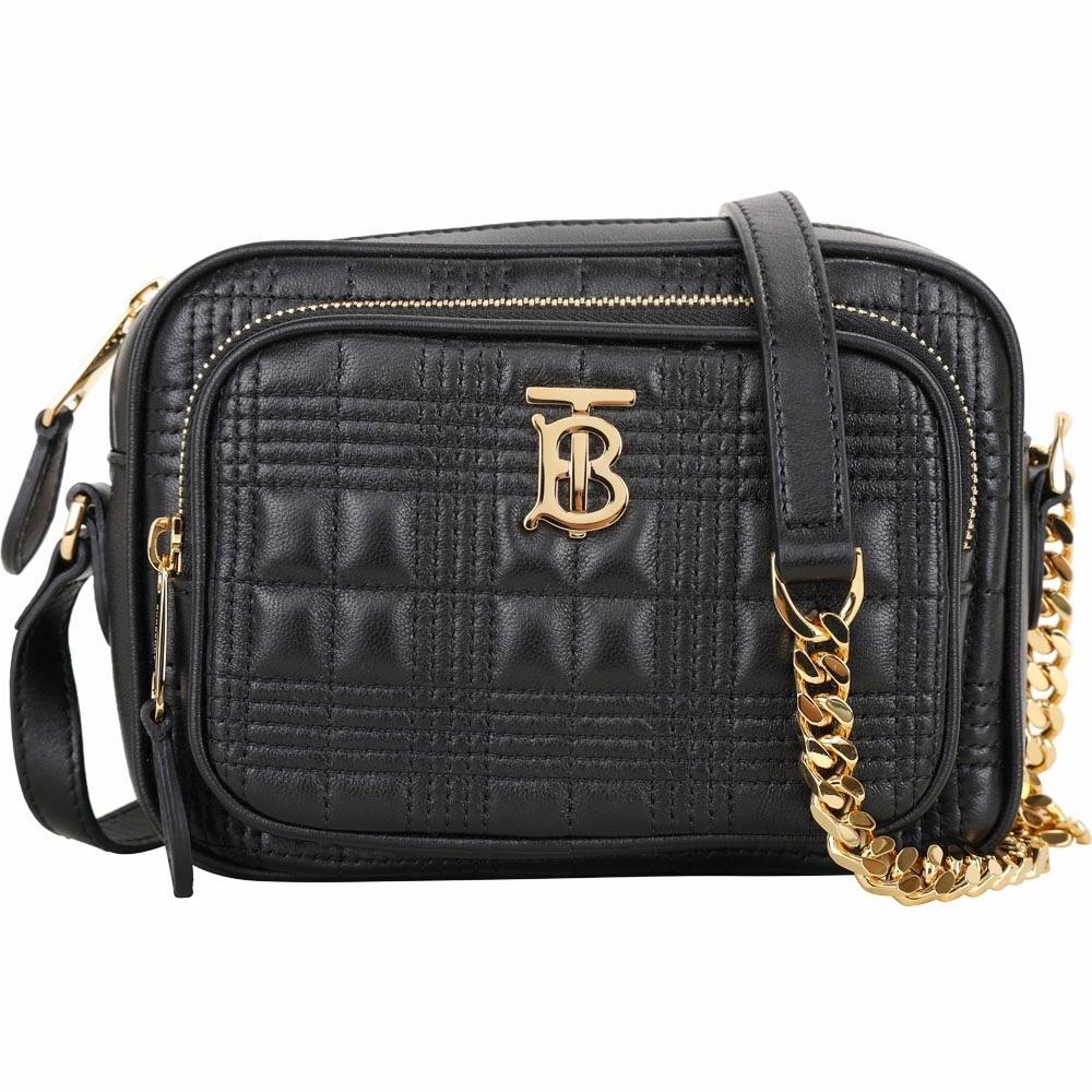 BURBERRY TB 格紋絎縫羔羊皮口袋相機包(黑色)