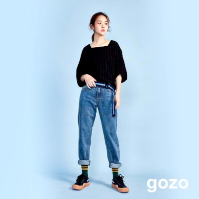 gozo 繽紛點點丹寧男友褲(二色)