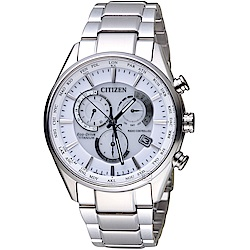 CITIZEN 星辰時尚電波對時鈦金屬限量腕錶(CB5020-87A)-白色