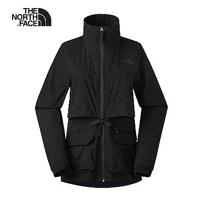 The North Face北面女款黑色防潑水可收納式高領衝鋒衣 3VQRJK3