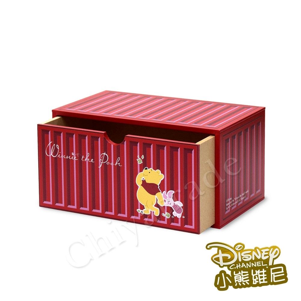 CY本舖 【迪士尼Disney】小熊維尼 貨櫃屋造型 單抽屜 收納盒 桌上收納 文具收納(正版授權)-紅
