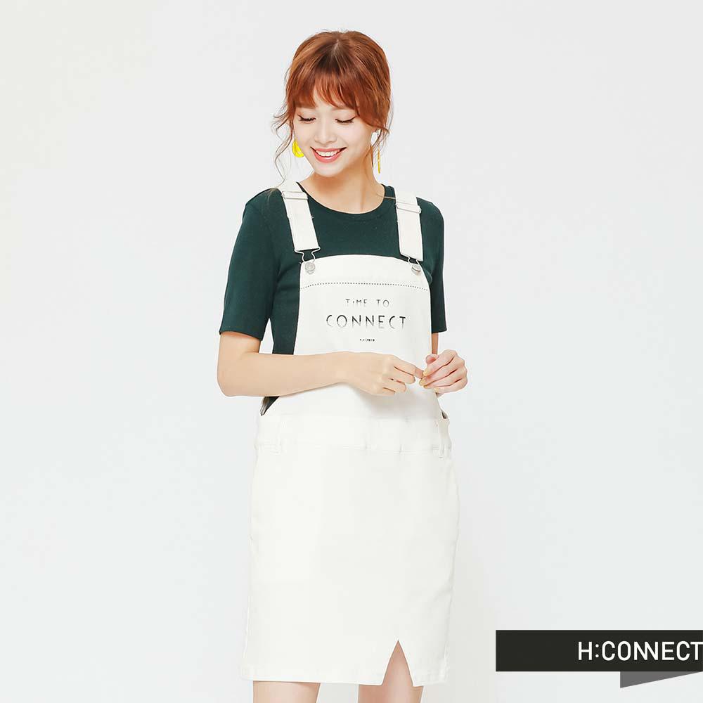H:CONNECT 韓國品牌 女裝 水洗印字吊帶短裙-白(快) @ Y!購物