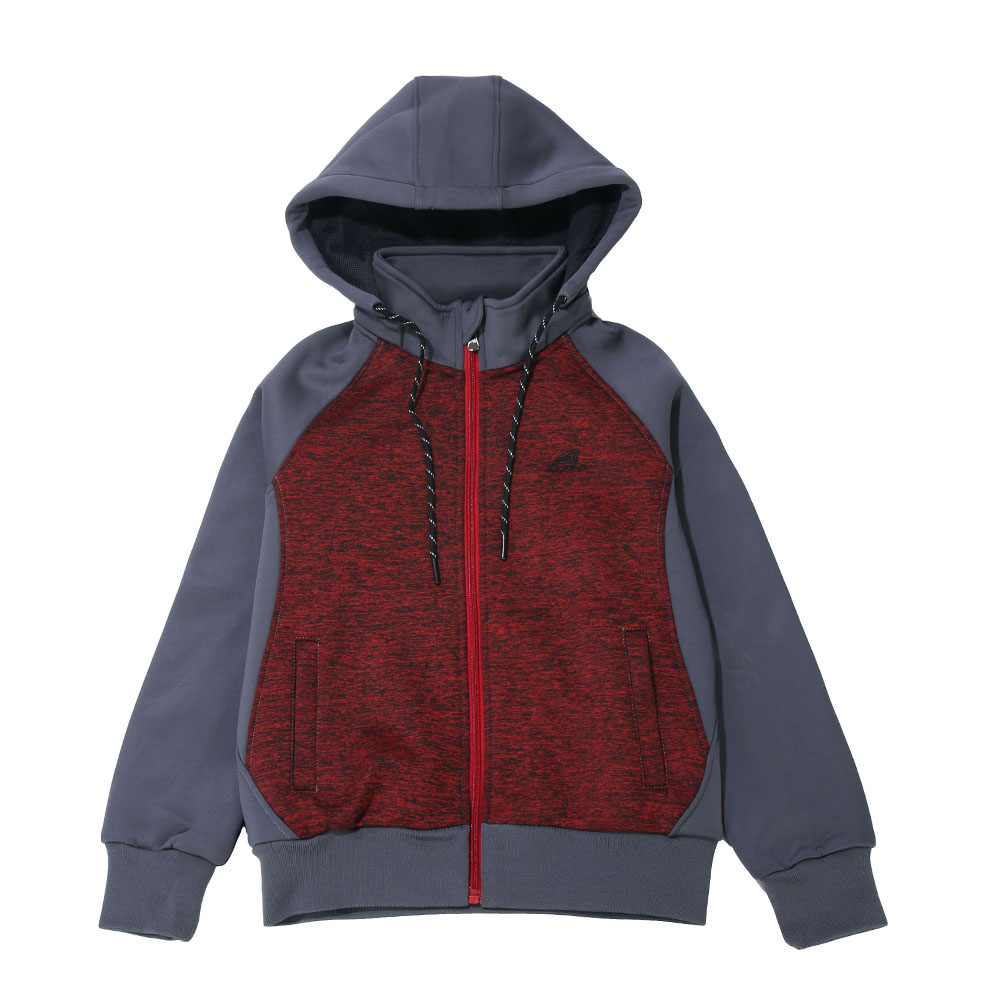 ZEPRO 兒童撞色休閒刷毛外套-深紅