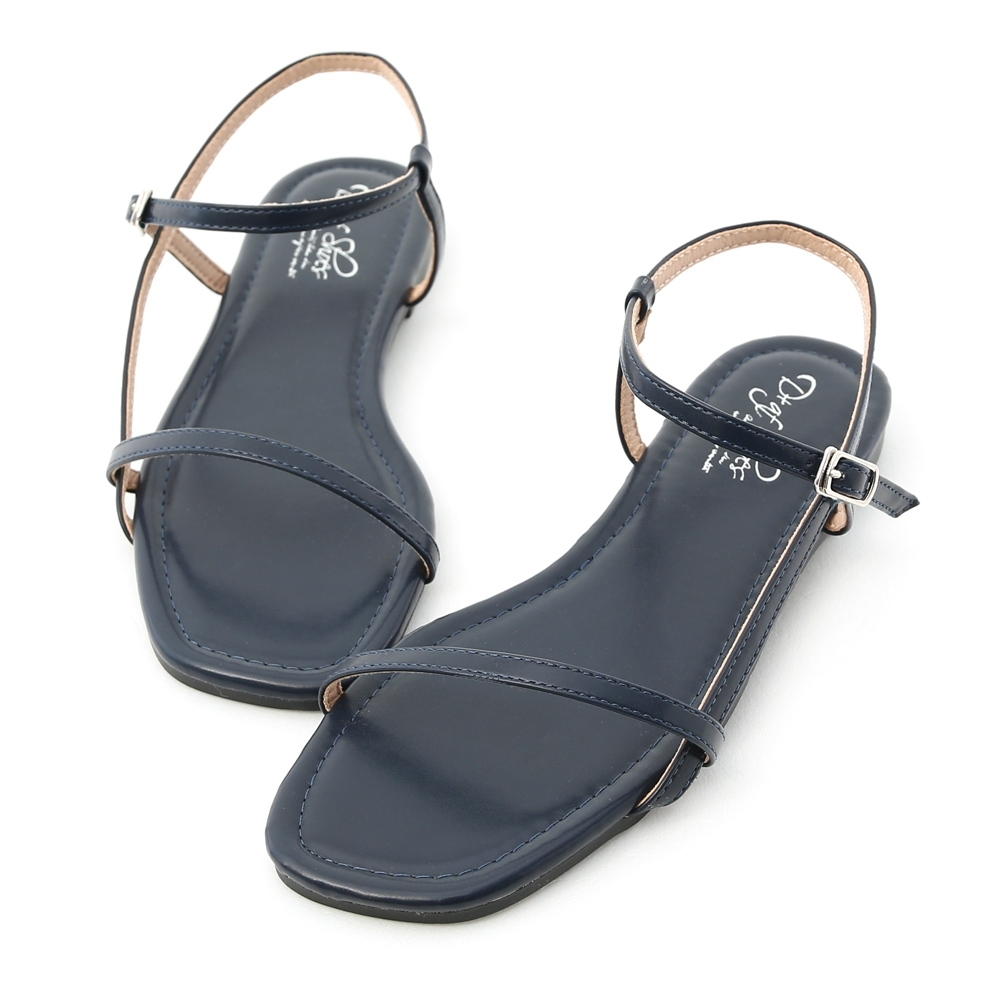 D+AF 知性風尚.一字側線方頭平底涼鞋*藍